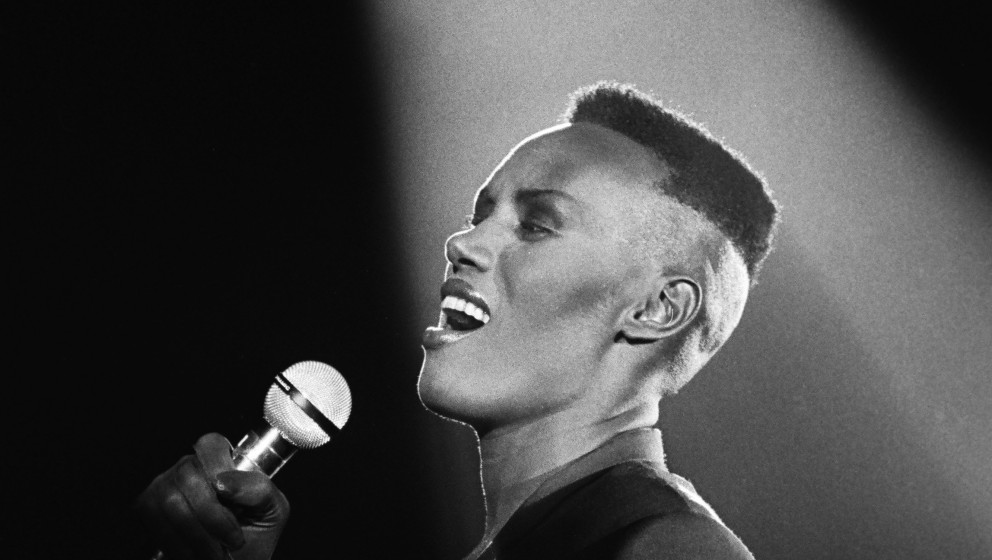 NEW YORK, NY - 1981:  Jamaican-born singer, fashion model and actress, Grace Jones, performs onstage during a 1981 New York,