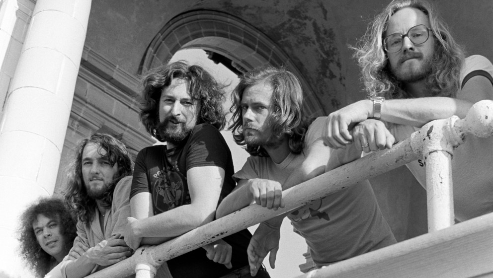 (EXCLUSIVE, Premium Rates Apply) Supertramp photo session atop the Ponce de Leon apartments in Atlanta. (Photo by Tom Hill/Wi
