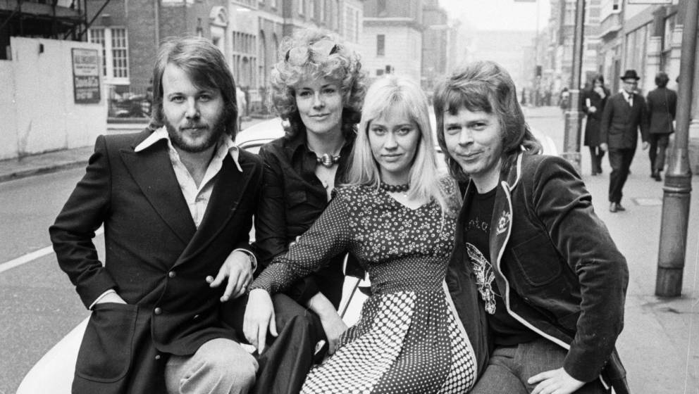 1st April 1974:  Benny Andersson, Anni-Frid Lyngstad, Agnetha Faltskog and Bjorn Ulvaeus of the Swedish pop group ABBA sittin