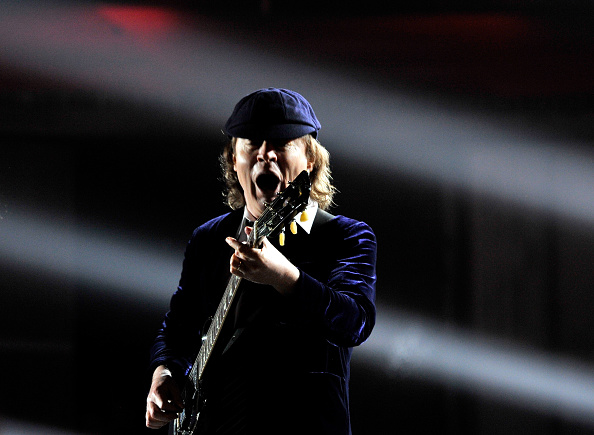 LOS ANGELES, CA - FEBRUARY 08:  Guitarist Angus Young of AC DC performs onstage during The 57th Annual GRAMMY Awards at the S