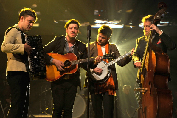 LOS ANGELES, CA - FEBRUARY 08:  (L-R) Musicians Ben Lovett, Marcus Mumford, 'Country' Winston Marshall and Ted Dwane of Mumfo