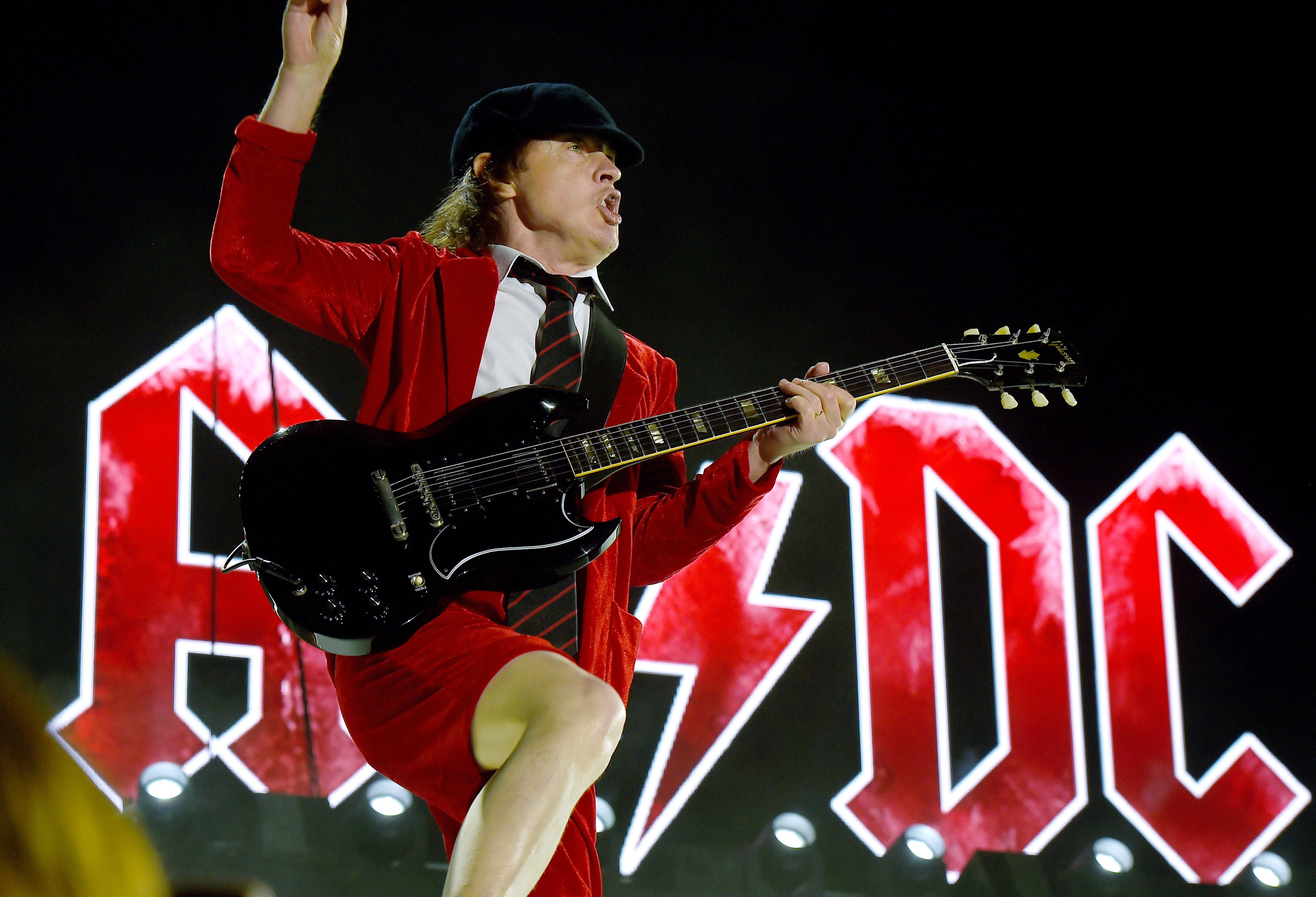 INDIO, CA - APRIL 10:  Musician Angus Young of AC/DC performs onstage during day 1 of the 2015 Coachella Valley Music & A