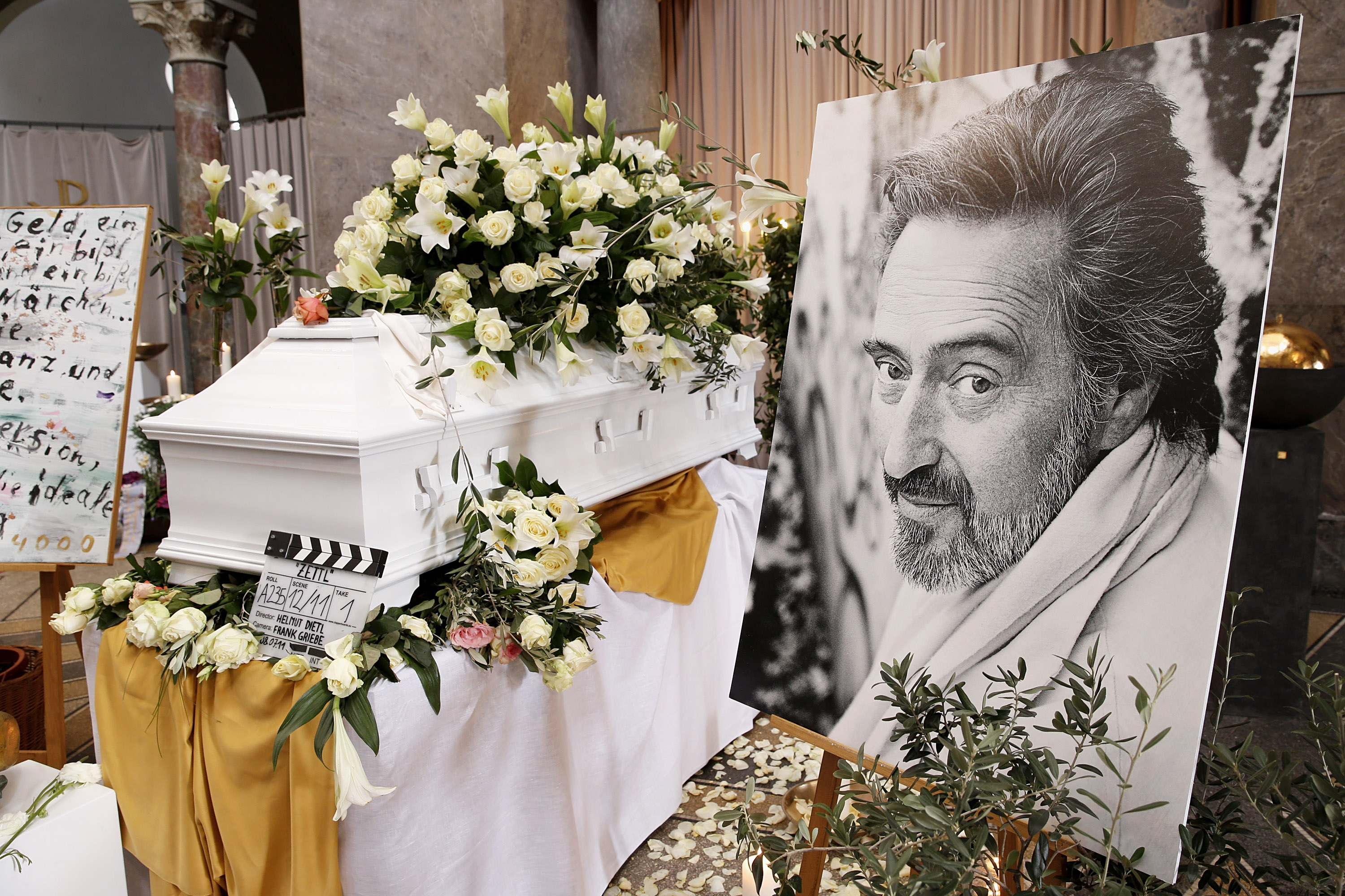 MUNICH, GERMANY - APRIL 12:  Memorial service for the deceased film director Helmut Dietl (1944 - 2015) on April 12, 2015 in