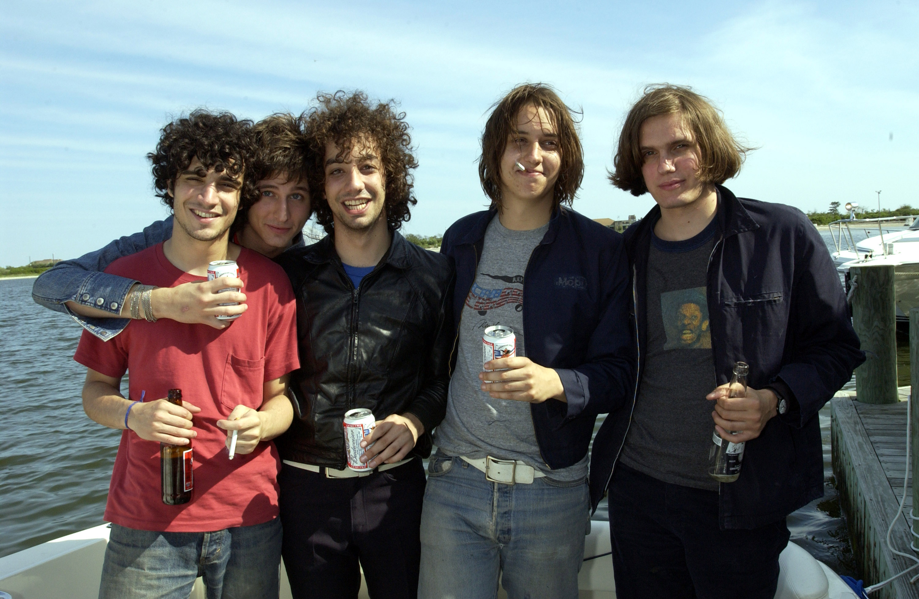 (EXCLUSIVE, Premium Rates Apply) The Strokes on Kevin Mazur's boat docked behind Jones Beach Theater (Photo by KMazur/WireIma