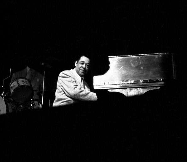 NEW YORK - APRIL 21:  Musician Duke Ellington performs with his orchestra at the Paramount Theatre on April 21, 1949 in New Y