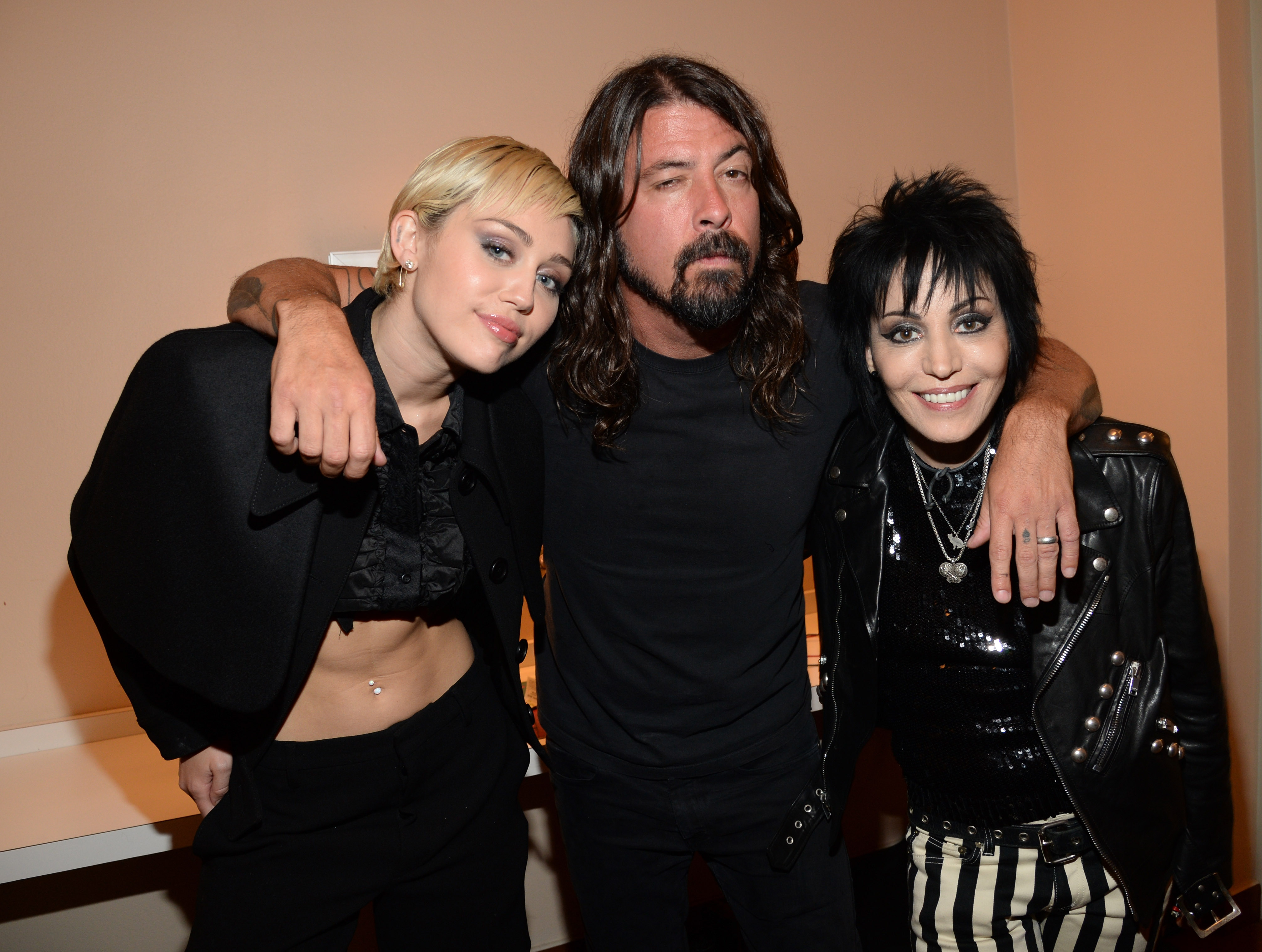 CLEVELAND, OH - APRIL 18:  (Exclusive Coverage) Miley Cyrus, Dave Grohl and Joan Jett attend the 30th Annual Rock And Roll Ha