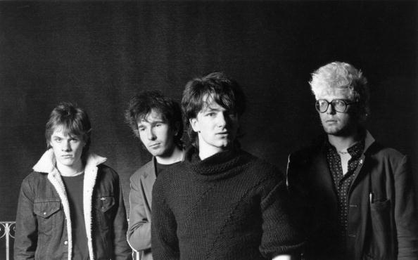 UNITED STATES - MARCH 07:  Photo of U2; L-R: Larry Mullen Jnr, The Edge, Bono, Adam Clayton - posed, studio, group shot  (Pho