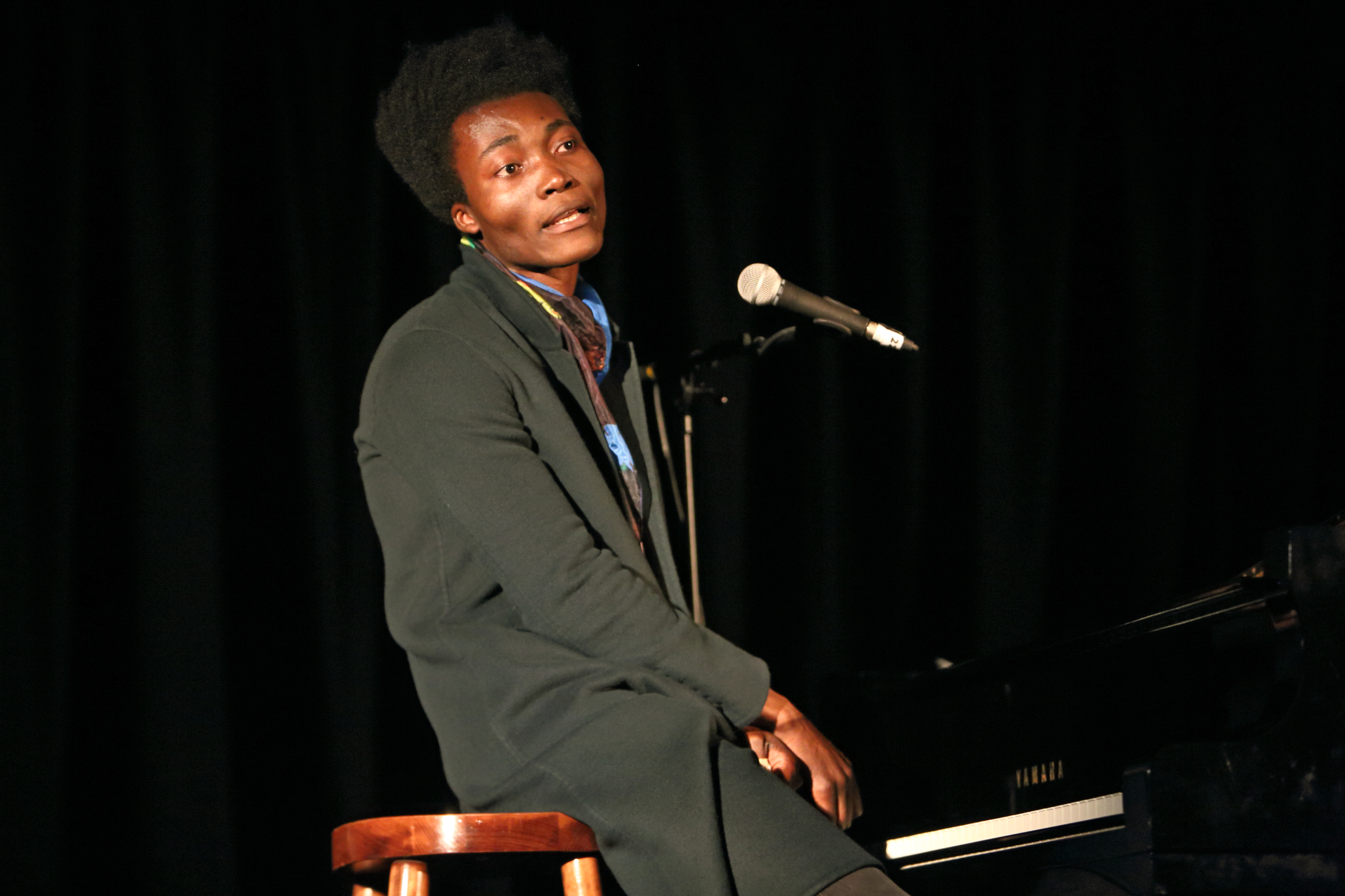 LONDON, UNITED KINGDOM - OCTOBER 29: Benjamin Clementine performs on stage at The Emmanuel Centre on October 29, 2014 in Lond