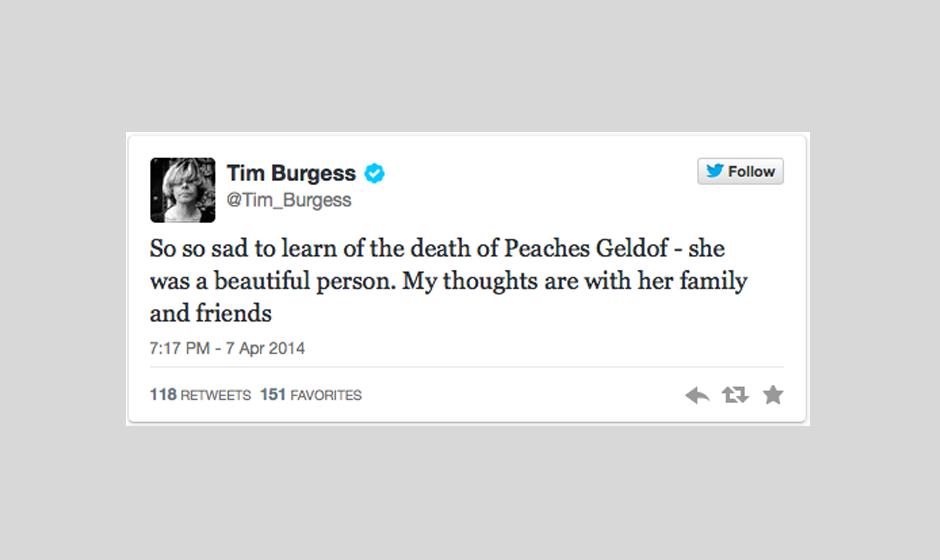 Tim Burgess behält Peaches als wundervolle Person in Erinnerung