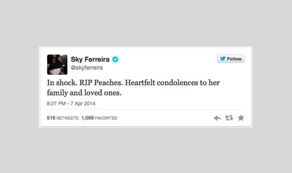 Sky Ferreira ist 'geschockt' und richtet ihr Beileid an Familie und Freunde