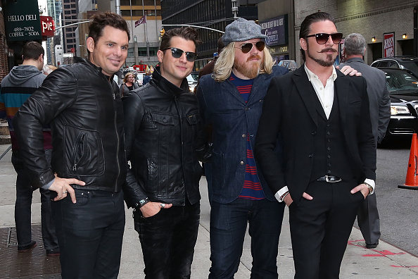 NEW YORK, NY - OCTOBER 09:  (L-R) Musicians Michael Miley, Jay Buchanan, Dave Beste, and Scott Holiday of Rival Sons depart '
