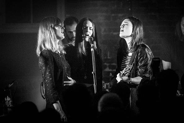 LONDON, ENGLAND - OCTOBER 27:  (EDITORS NOTE: Image has been converted to black and white.) Emily Staveley-Taylor, Milly Stav