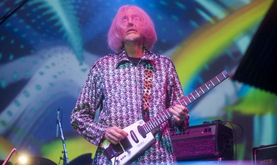EDINBURGH, UNITED KINGDOM - NOVEMBER 22: Daevid Allen performs on stage with Gong at The Picture House on November 22, 2009 i