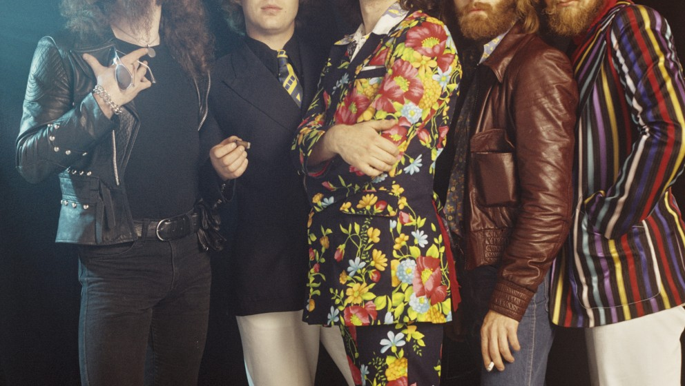 AMSTERDAM, NETHERLANDS: Jethro Tull posed in Amsterdam, Netherlands in 1972. Left to right: Ian Anderson, Barriemore Barlow (