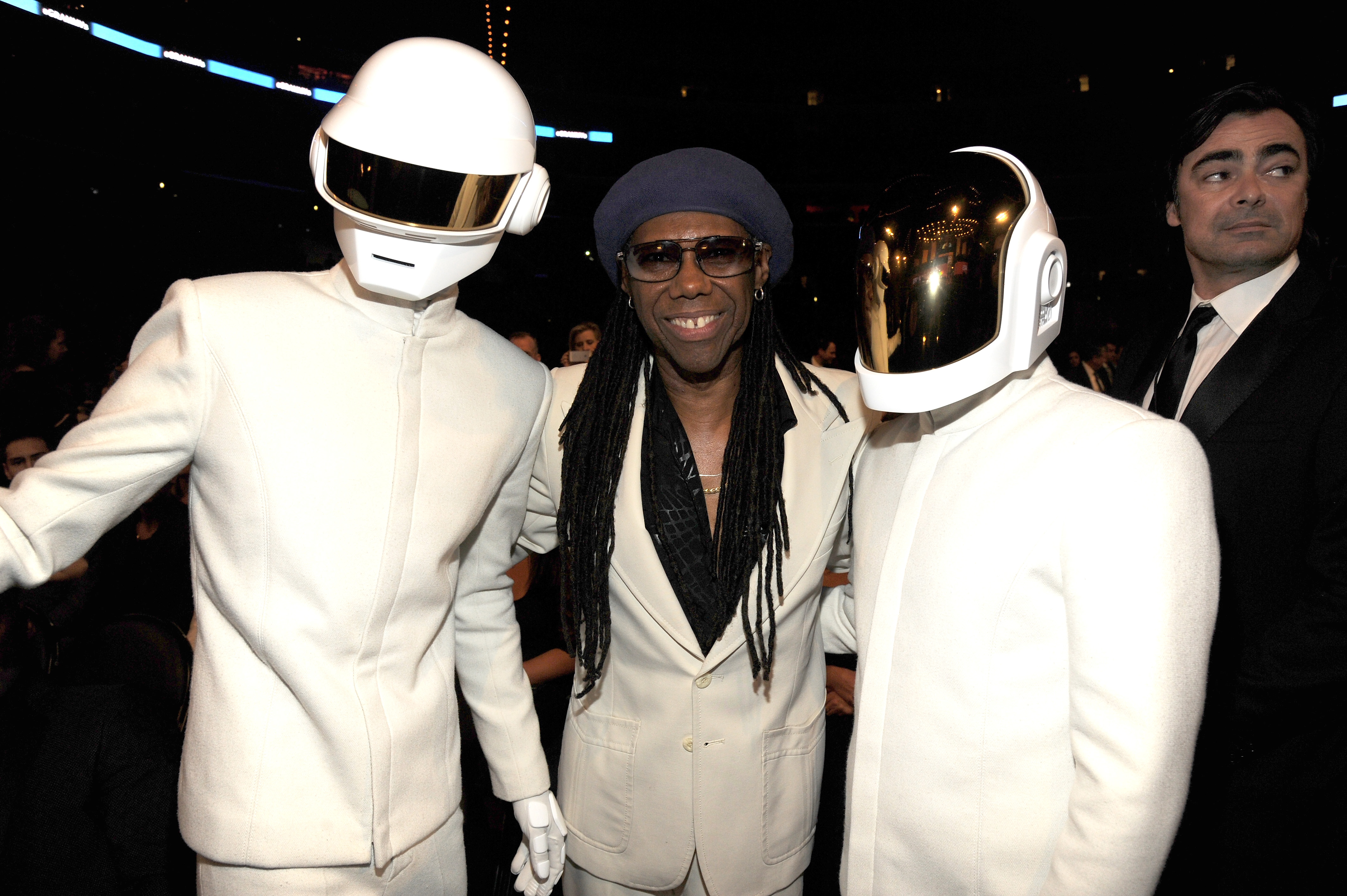 LOS ANGELES, CA - JANUARY 26:  (L-R) Daft Punk's Thomas Bangalter, musician Nile Rodgers and Daft Punk's Guy-Manuel de Homem-