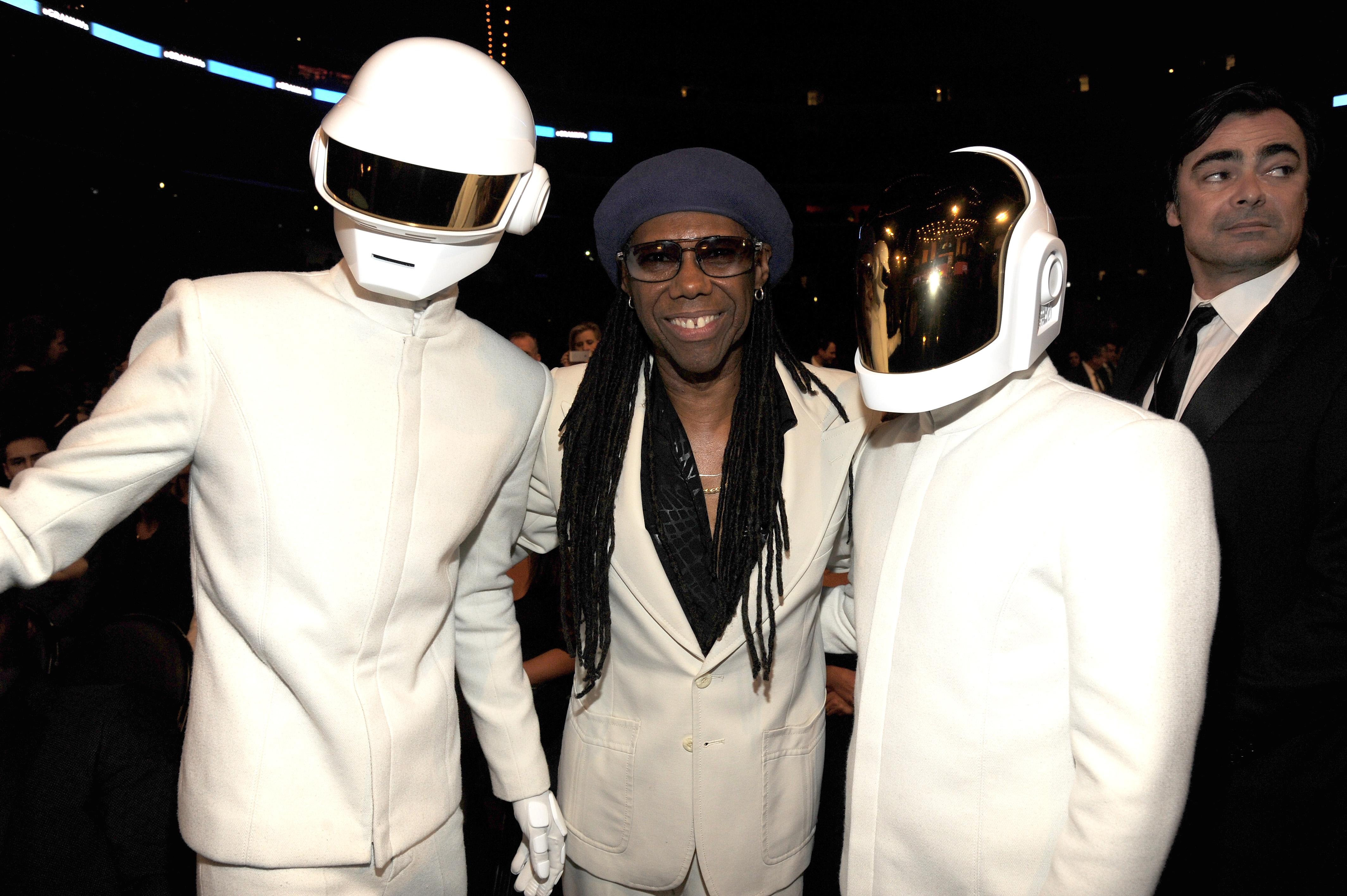 LOS ANGELES, CA - JANUARY 26:  (L-R) Daft Punk's Thomas Bangalter, musician Nile Rodgers and Daft Punk's Guy-Manuel de Homem-