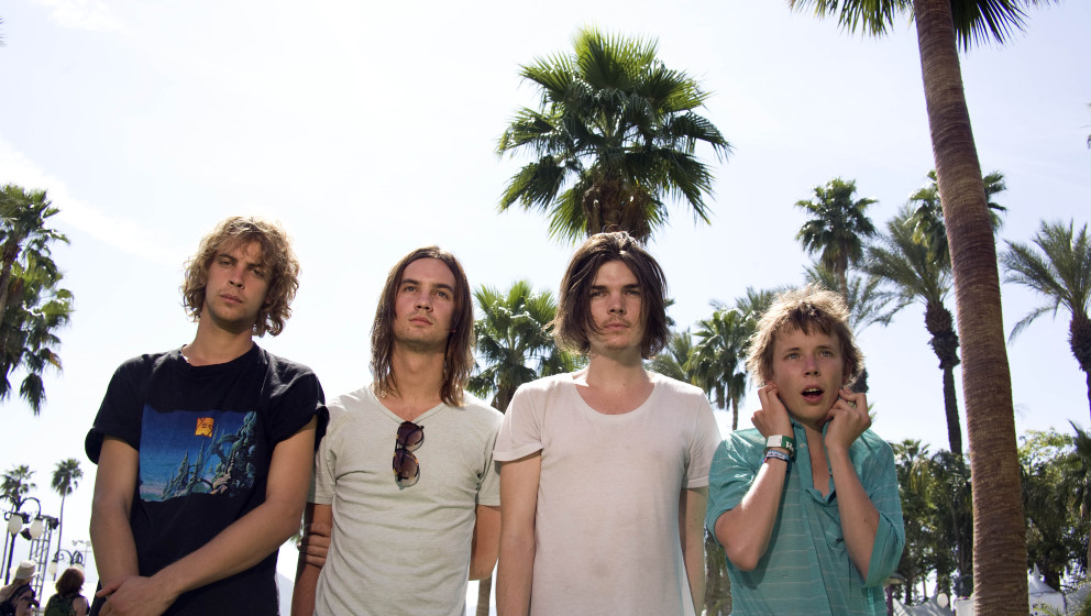 COACHELLA, CA - APRIL 15: (L-R) Jay Watson, Kevin Parker, Dominic Simper and Nick Allbrook of Tame Impala pose backstage duri