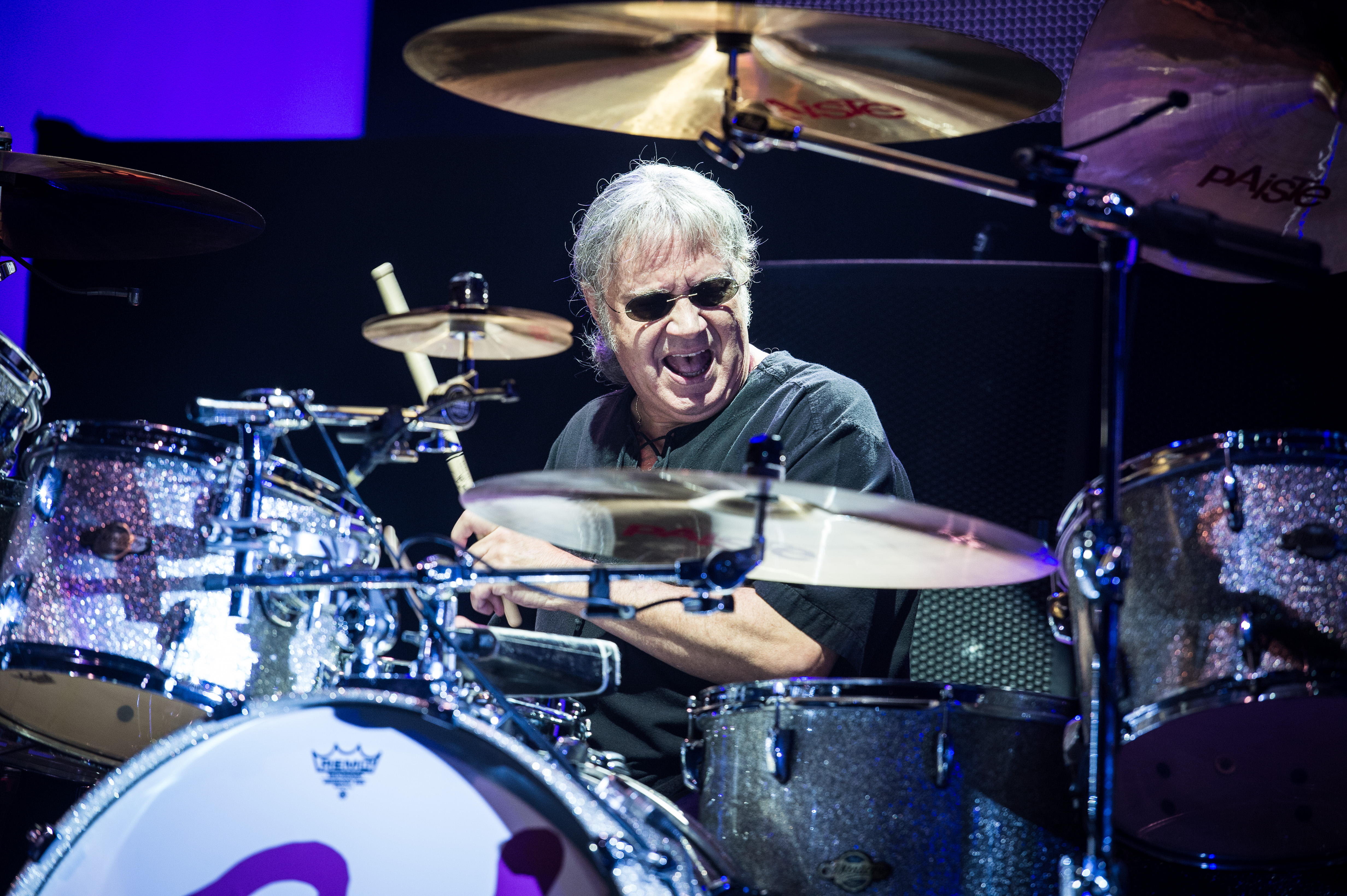 PARIS, FRANCE - OCTOBER 20: Ian Paice from Deep Purple performs at Le Zenith on October 20, 2013 in Paris, France. (Photo by