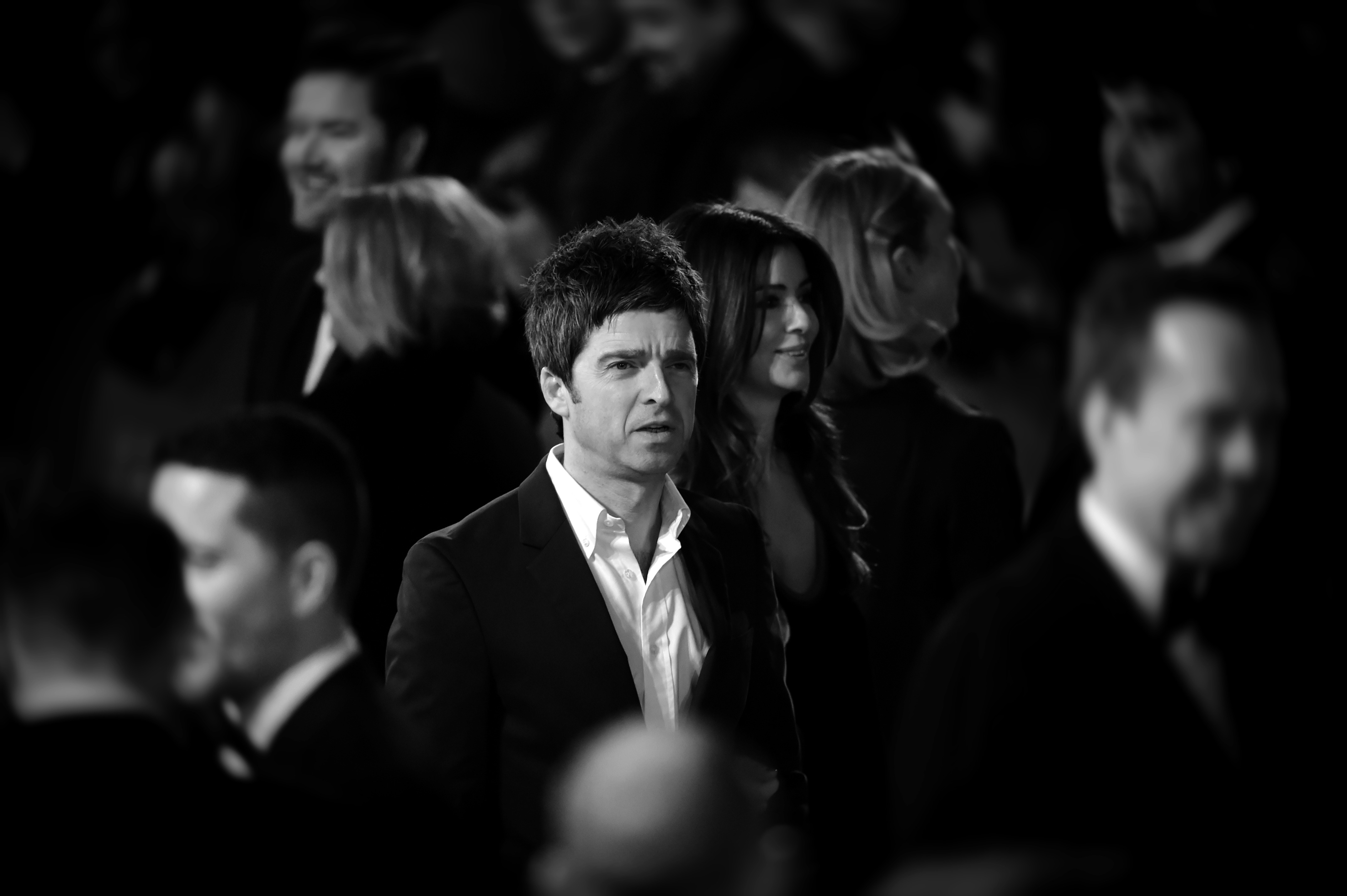 LONDON, ENGLAND - FEBRUARY 08:  (Editors note: This image has been digitally altered) Noel Gallagher and Sara Macdonald atten