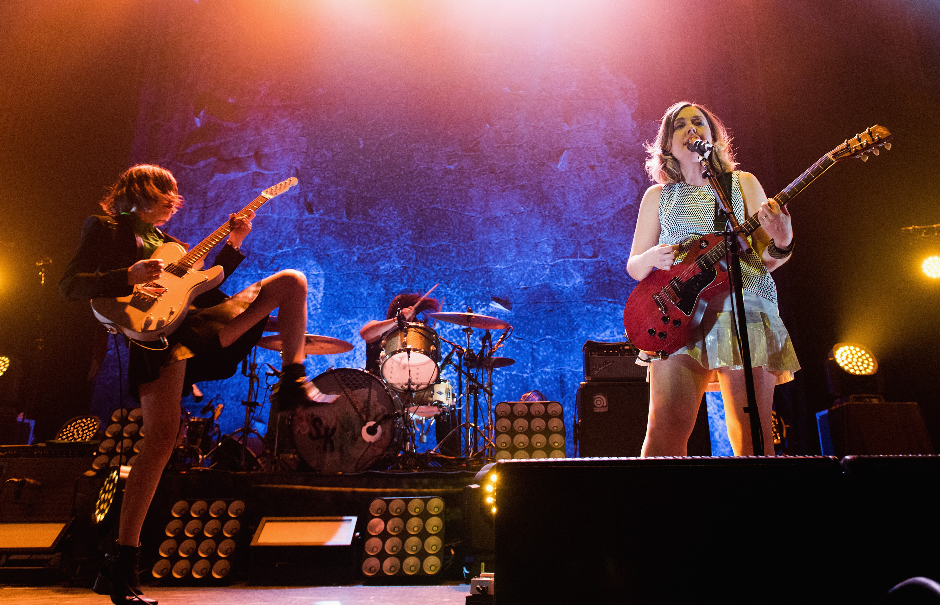 ATLANTA, GA - APRIL 21:  (L-R) Carrie Brownstein, Janet Weiss, and Corin Tucker of Sleater-Kinney perform on stage at The Tab