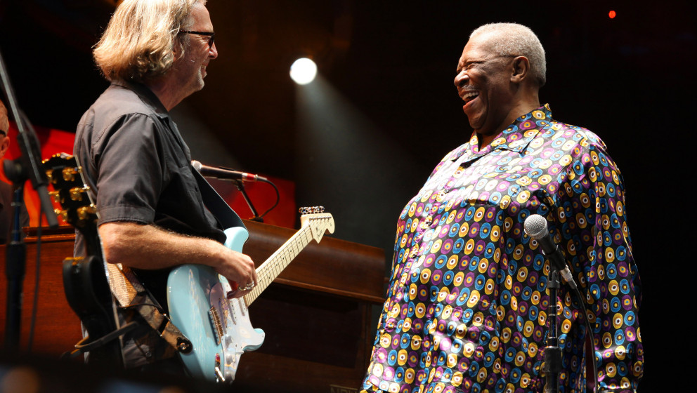 Guitarists Eric Clapton and BB King onstage during the 2010 Crossroads Guitar Festival at Toyota Park on June 26, 2010 in Bri