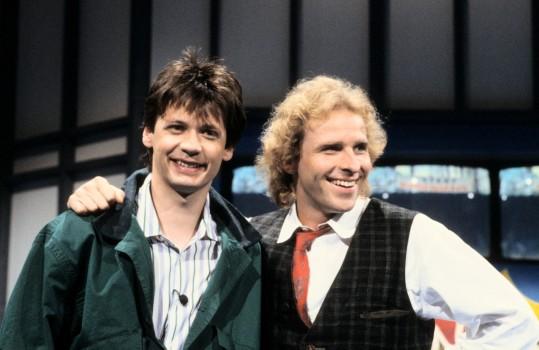 Günther Jauch und Thomas Gottschalk 1987 (Photo by Peter Bischoff/Getty Images)