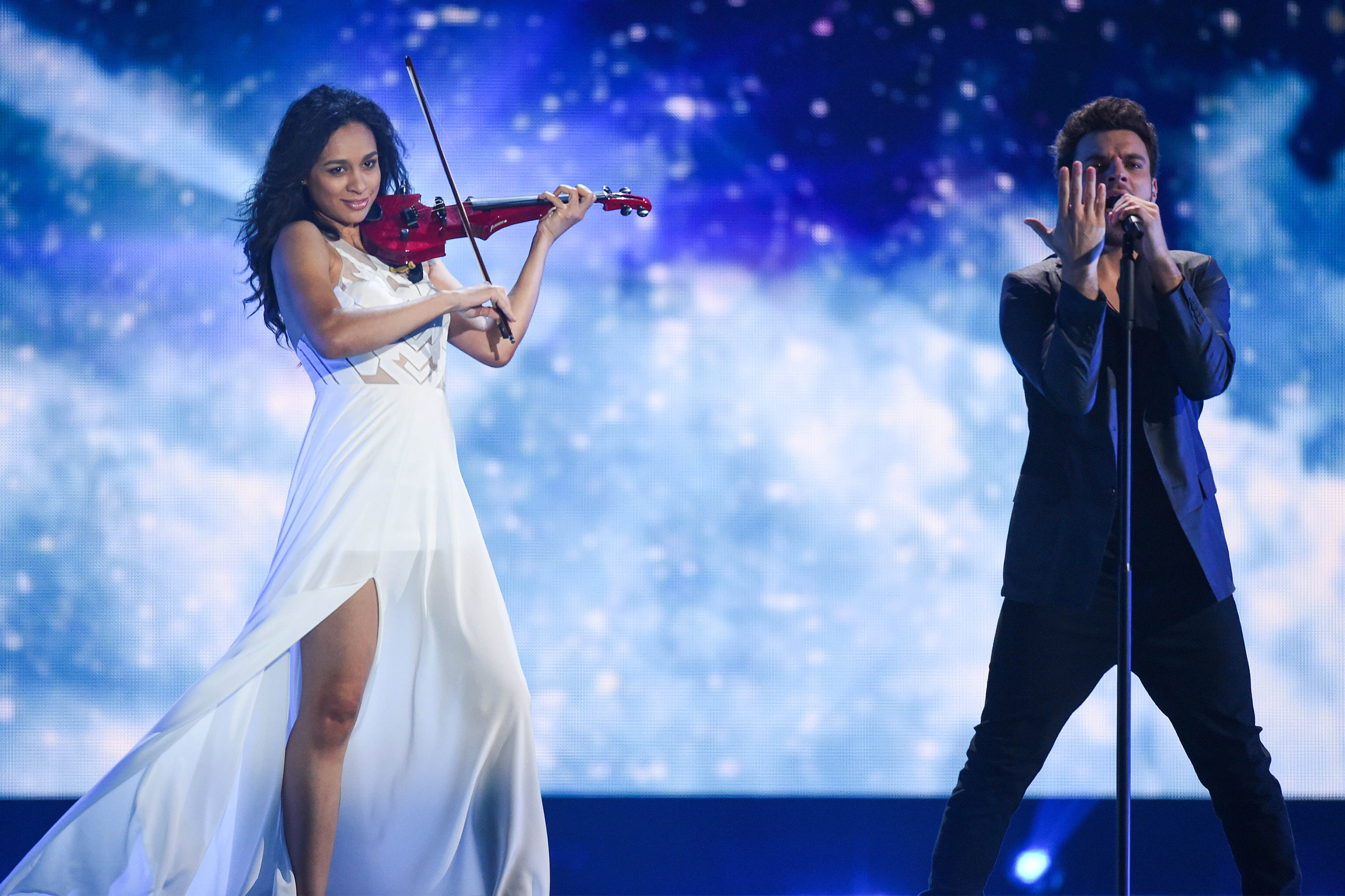 VIENNA, AUSTRIA - MAY 18:  Uzari and Maimuna of Belarus peforms during a rehearsal of the first Semin Final on May 18, 2015 i