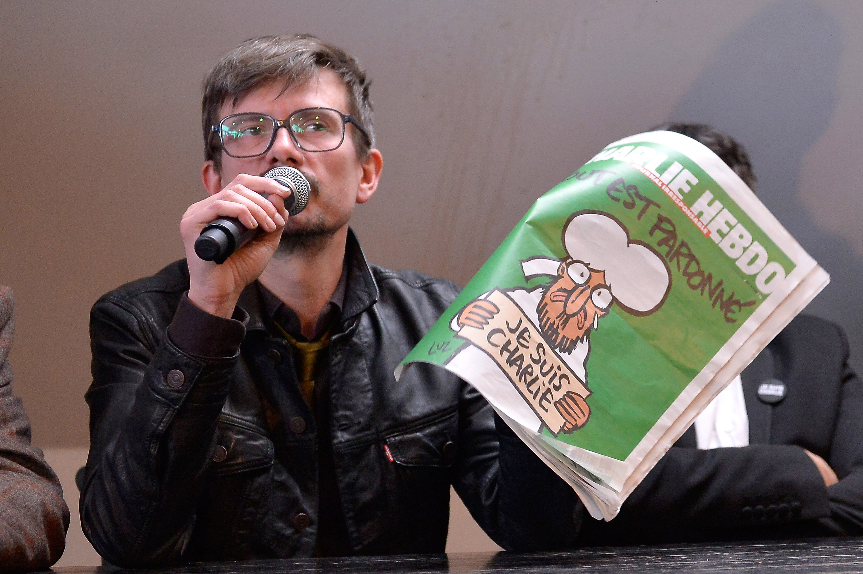 PARIS, FRANCE - JANUARY 13:  Charlie Hebdo cartoonist, Renald Luzier aka Luz, speaks during a Charlie Hebdo press conference