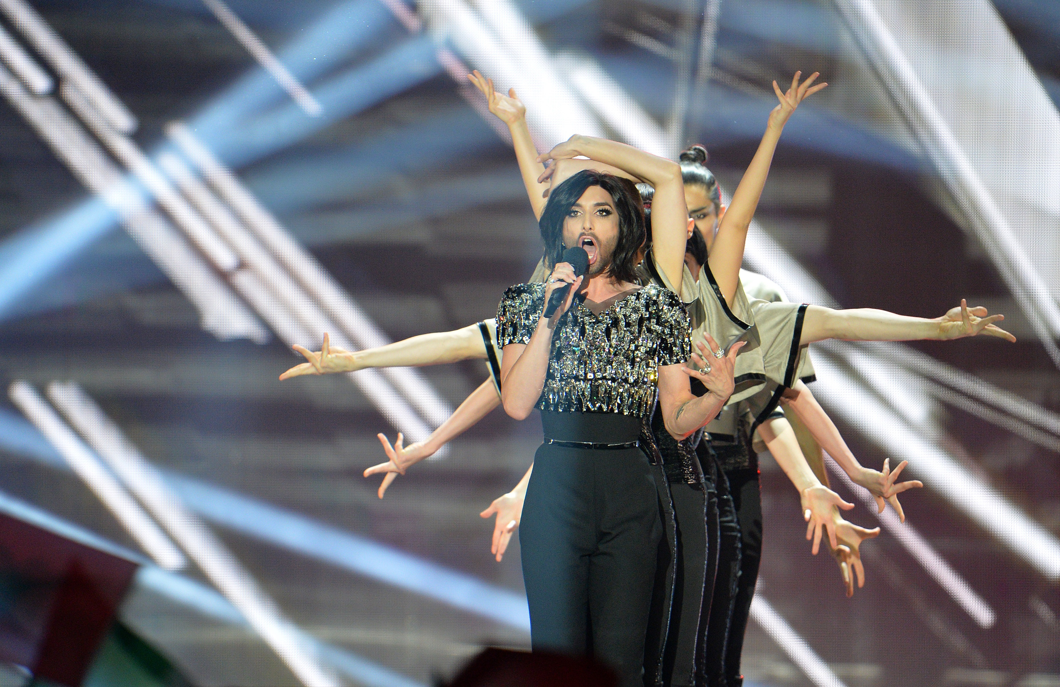 Conchita Wurst, who won the 2014 ESC for Austria, performs during a break in the final of the Eurovision Song Contest in Aust