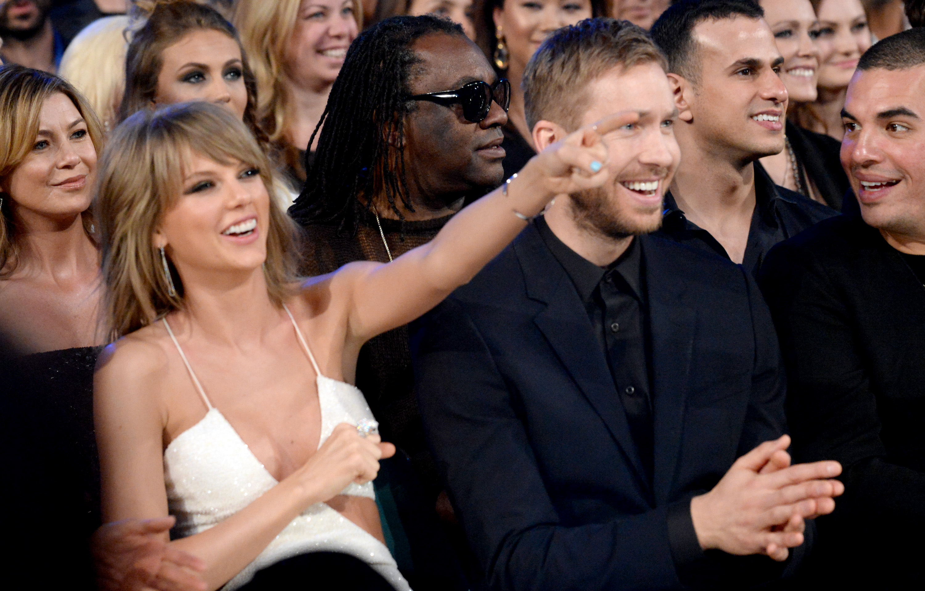 LAS VEGAS, NV - MAY 17:  Singer Taylor Swift (L) and DJ Calvin Harris attend the 2015 Billboard Music Awards at MGM Grand Gar