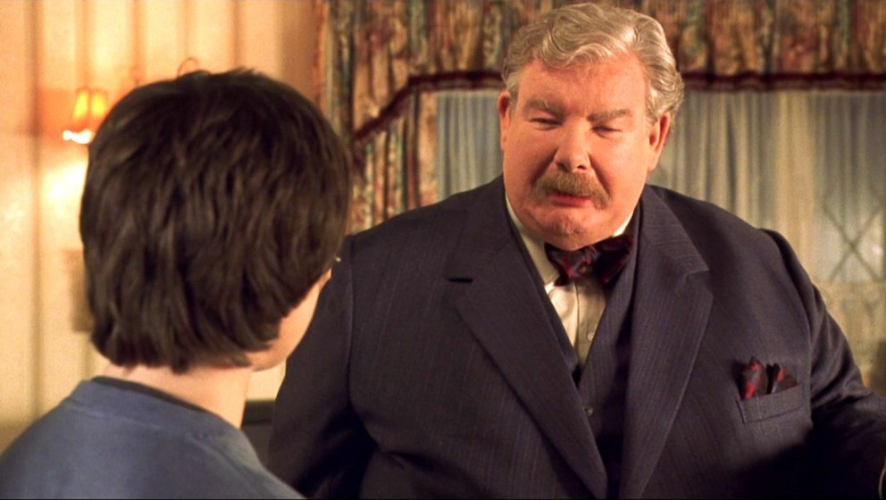 Uncle-Vernon-Darsteller Richard Griffiths mit Harry Potter (Daniel Radcliffe)