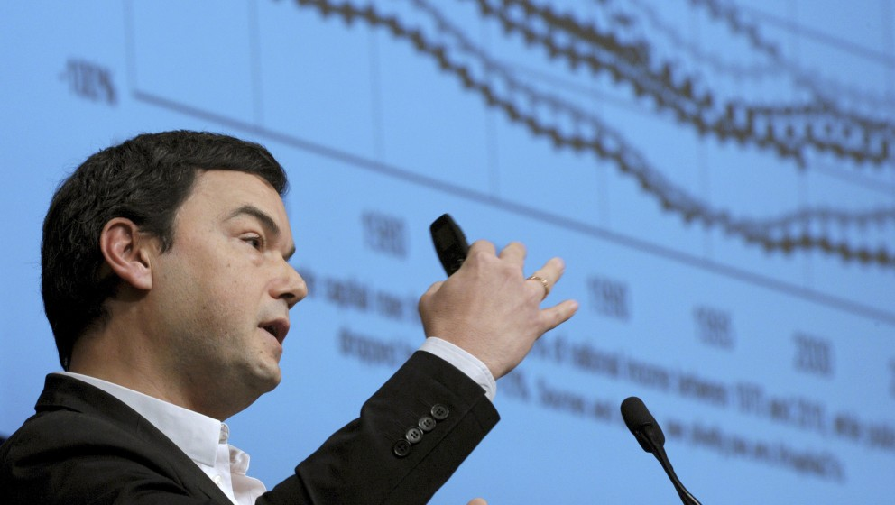 France's influential economist Thomas Piketty, author of the bestseller 'Capital in the 21st Century' addresses  a keynote sp