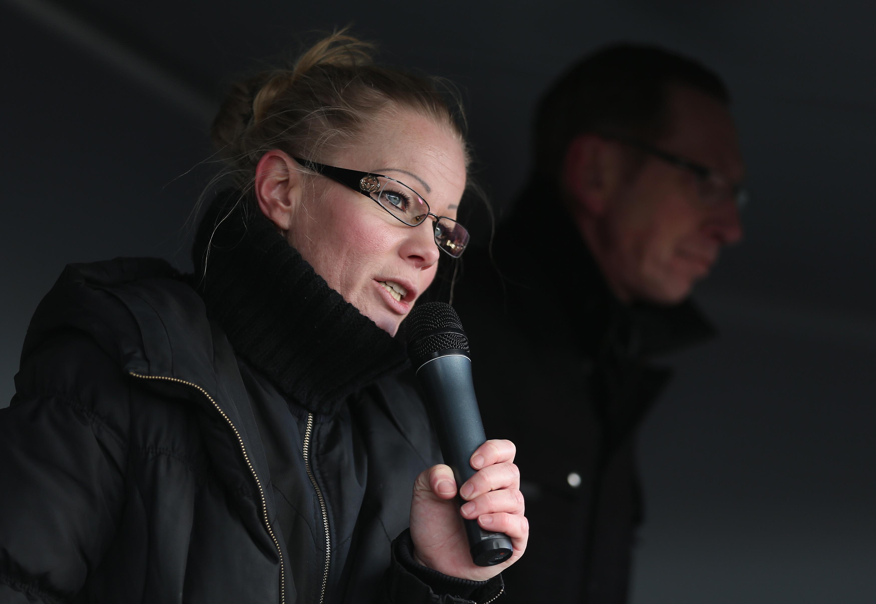 DRESDEN, GERMANY - FEBRUARY 08:  Kathrin Oertel, former spokeswoman for Pegida and now head of the DDfE (Direkte Demokratie f