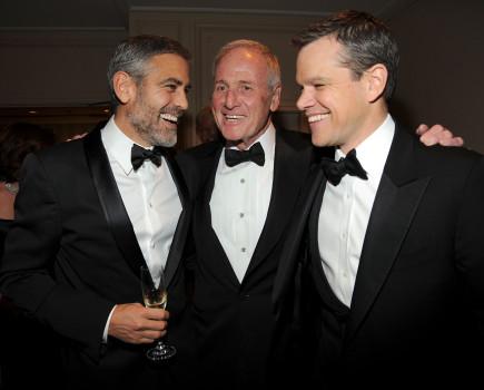 Jerry Weintraub mit George Clooney und  Matt Damon (Photo by Kevin Mazur/WireImage for UNICEF)