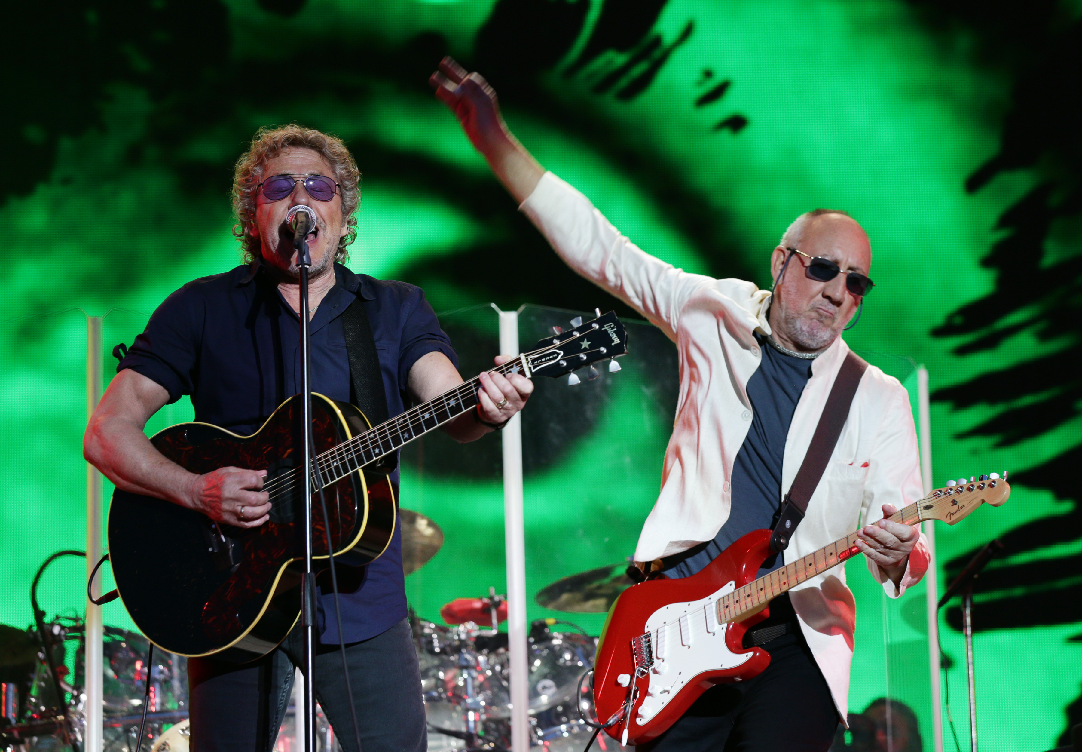 Glastonbury Festival 2015 - Day 3. Roger Daltrey and Pete Townshend of The Who performing on The Pyramid Stage during the Gla