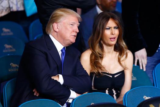 Ehefrau drei: Melania Knauss, 45, slowenisches Model, ist seit 2005 die Frau an Trumps Seite. Knauss war auf dem Cover diverser Modemagazine wie Vogue, Elle oder Vanity Fair. Gemeinsam haben sie einen Sohn. (Photo by Al Bello/Getty Images)