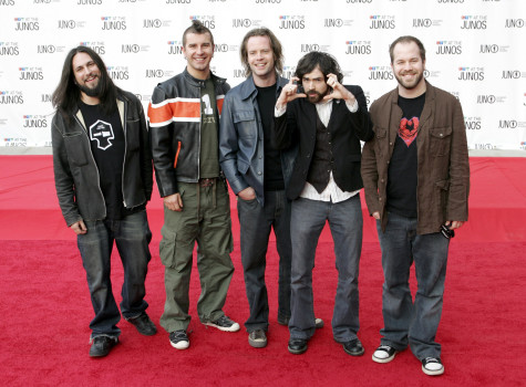 Finger Eleven during 2005 Canadian Juno Awards - Arrivals at MTS Centre in Winnipeg, Manitoba, Canada. (Photo by Marc Andrew Deley/FilmMagic)