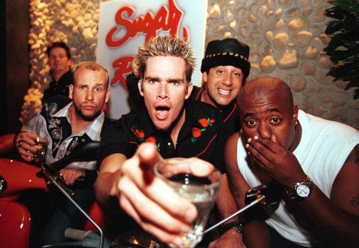 Sugar Ray pose for a group portrait backstage at the Evelyn Hotel on 4th June 2001 in Melbourne, Australia. (Photo by Martin Philbey/Redferns)