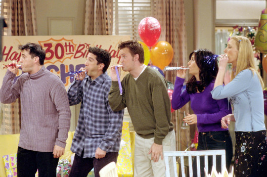 "385848 28: Cast members of NBC's comedy series ""Friends."" Pictured (l to r): Matt LeBlanc as Joey Tribbiani, David Schwimmer as Ross Geller, Matthew Perry as Chandler Bing, Courteney Cox as Monica Geller and Lisa Kudrow as Phoebe Buffay. Episode: ""The One Where They All Turn Thirty."" (Photo by Warner Bros. Television)"