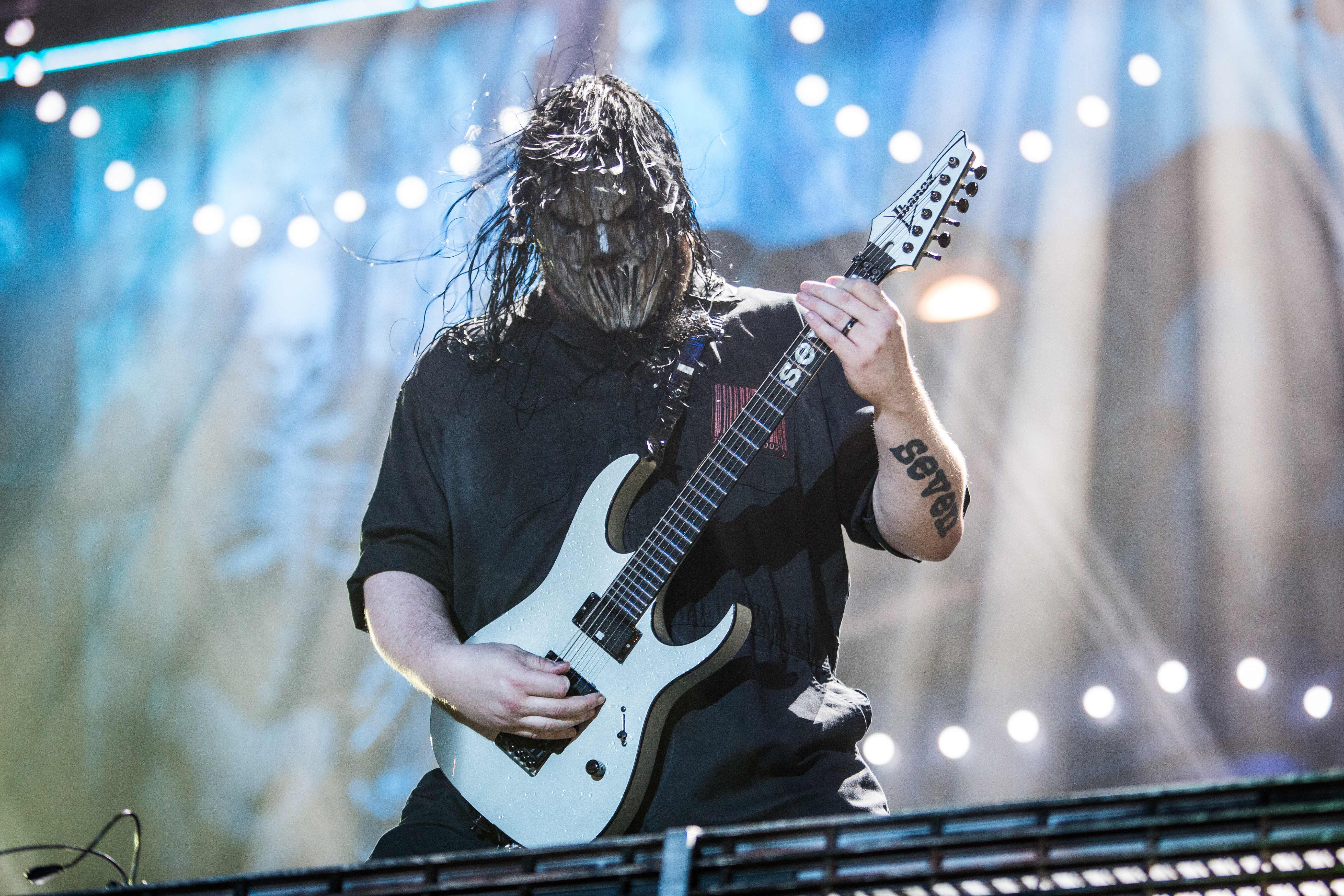 Mick Thomson of Slipknot performs live at Ippodromo Capannelle. Slipknot is an American heavy metal band from Des Moines, Iow