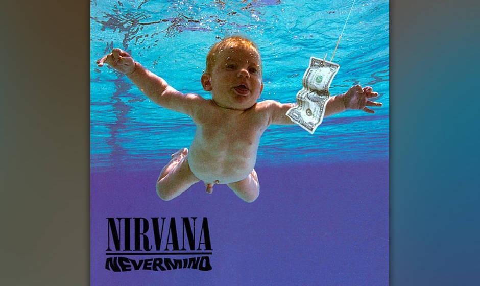 """Nirvana – """"Nevermind"""": Das nackte Baby, das einem Dollarschein am Haken nachschimmt, ist weltweit berühmt geworden. An"""