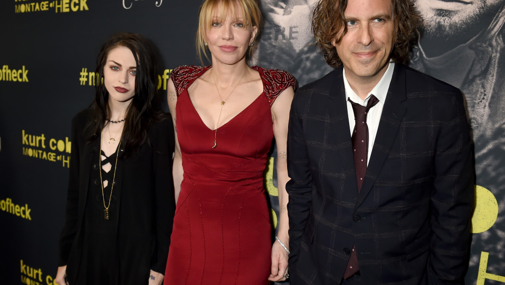 LOS ANGELES, CA - APRIL 21:  (L-R) Executive Producer Frances Bean Cobain, singer/songwriter/actress Courtney Love and Direct