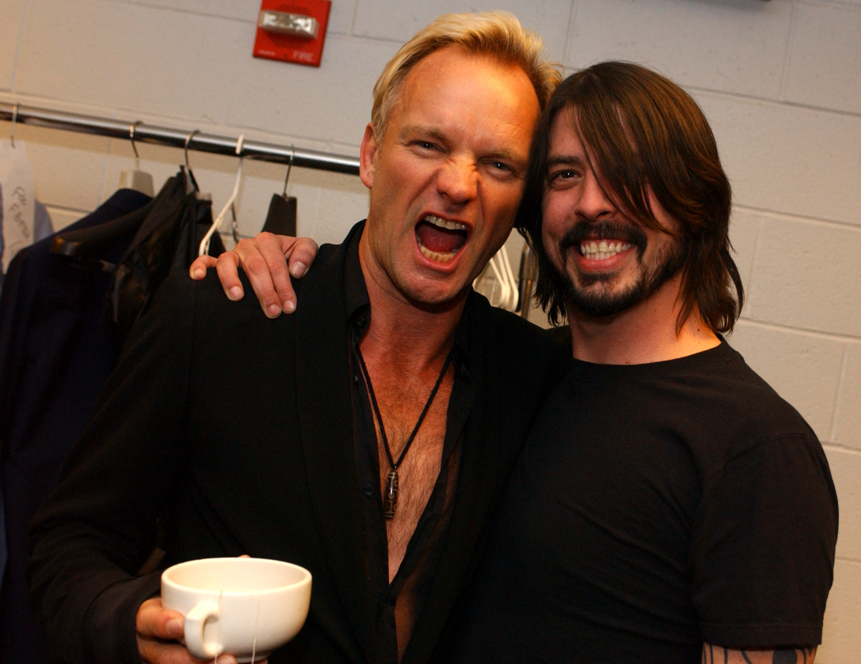 (EXCLUSIVE, Premium Rates Apply) Sting and Dave Grohl of Foo Fighters (Photo by R. Diamond/WireImage for NARAS)