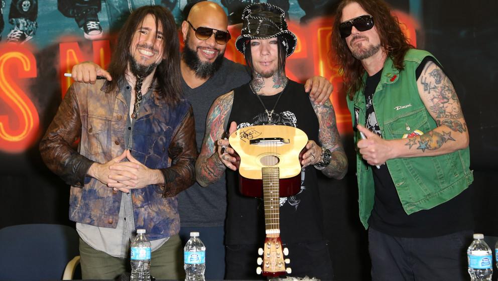 LAS VEGAS, NV - MAY 27:  (L-R) Guitarist Ron 'Bumblefoot' Thal, drummer Frank Ferrer, guitarist Dj Ashba and keyboardist Dizz