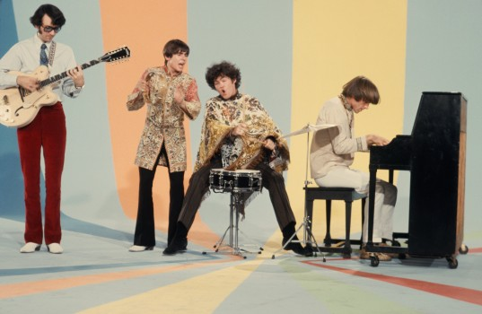 LOS ANGELES - AUGUST 1967:  Davy Jones, Mickey Dolenz, Peter Tork and Mike Nesmith on the set of the television show The Monkees in August 1967 in Los Angeles, California. (Photo by Michael Ochs Archives/Getty Images)