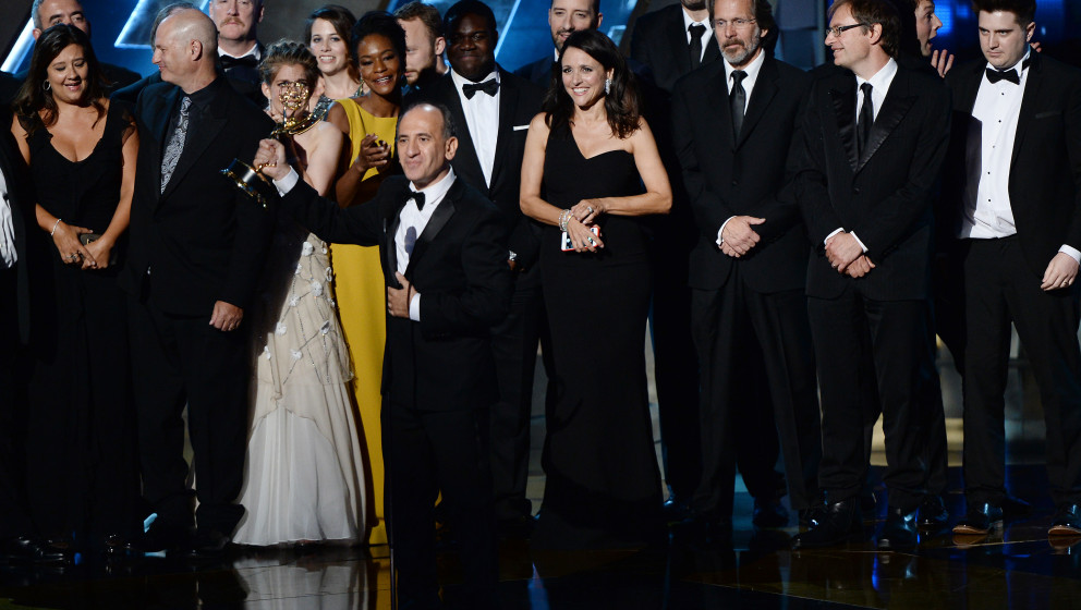 Image #: 39557590    Writer/producer Armando Iannucci (C), actress Julia Luis-Dreyfus with cast and crew accept the award for