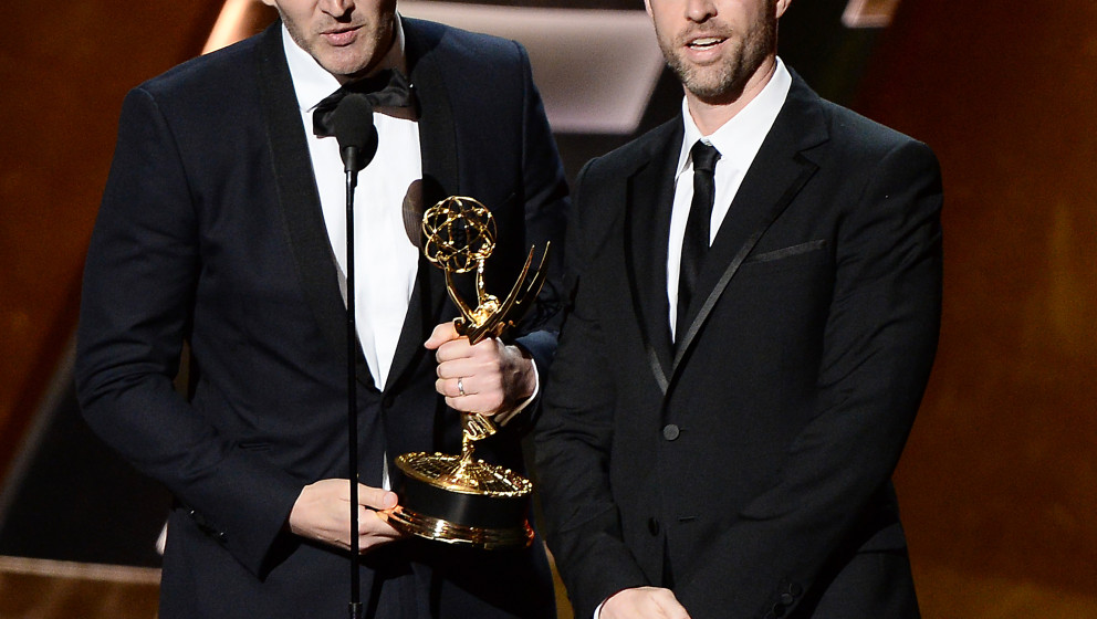 Image #: 39557854    Writers David Benioff (L) and D.B. Weiss accept the award for Outstanding Writing for a Drama Series for