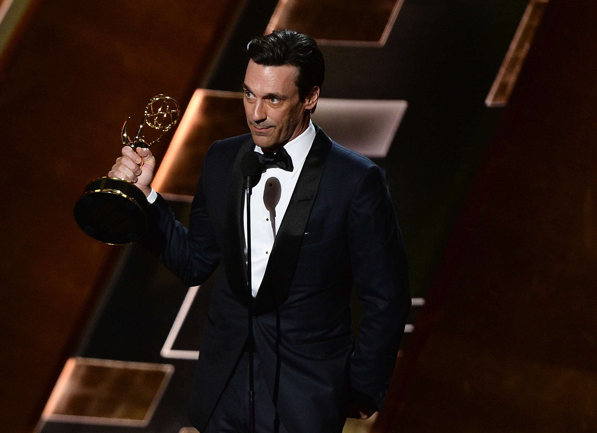 Image #: 39557467    Actor Jon Hamm accepts the award for Outstanding Lead Actor in a Drama Series for 'Mad Men' onstage duri
