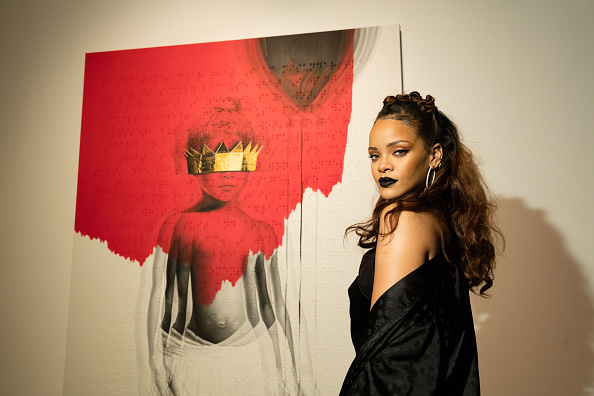 LOS ANGELES, CA - OCTOBER 07:  Singer Rihanna at Rihanna's 8th album artwork reveal for 'ANTI' at MAMA Gallery on October 7,