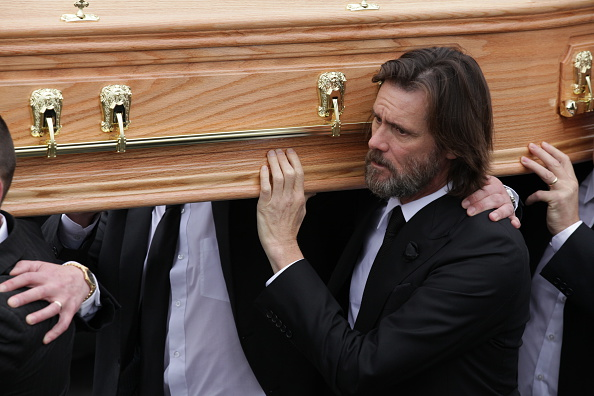 TIPPERARY, IRELAND - OCTOBER 10:  Jim Carrey attends The Funeral of Cathriona White on October 10, 2015 in Cappawhite, Tipper